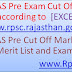 NEW! RPSC RAS Pre Exam Cut Off Marks, Results and Merit List 2016 [EXCEPTED] www.rpsc.rajasthan.gov.in