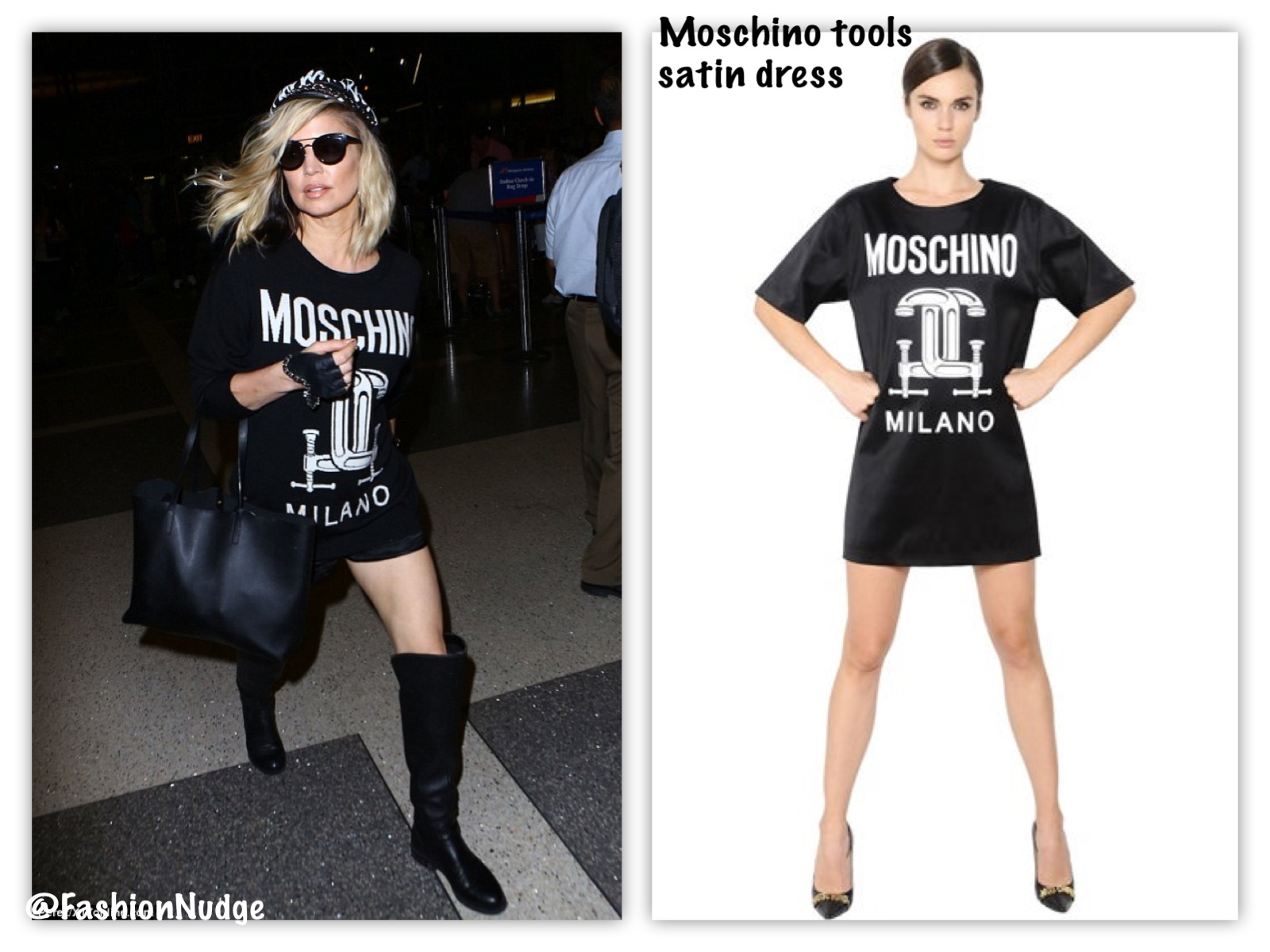 4769882782a2 Snag the Look - Fergie in MOSCHINO TOOLS PRINTED STRETCH ENVERS SATIN DRESS  - LAX