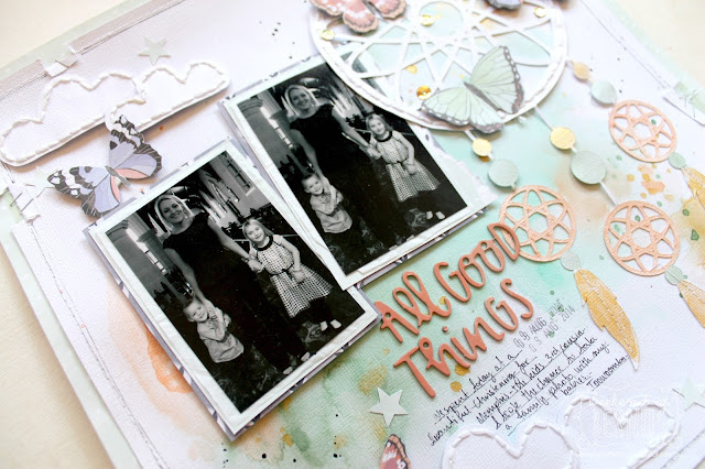 """All good things"" layout by Bernii Miller using the Hazelwood collection and Dreamcatcher cut file from Paper Issues."