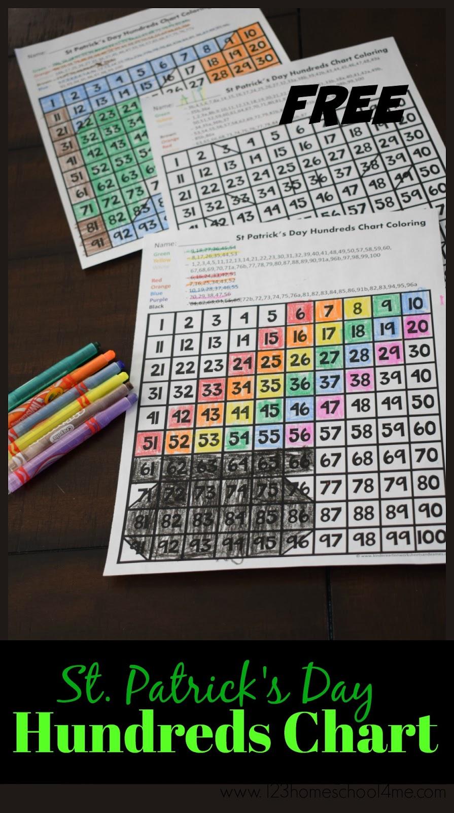 Kindergarten Worksheets and Games: FREE St Patricks Day Hundreds Chart