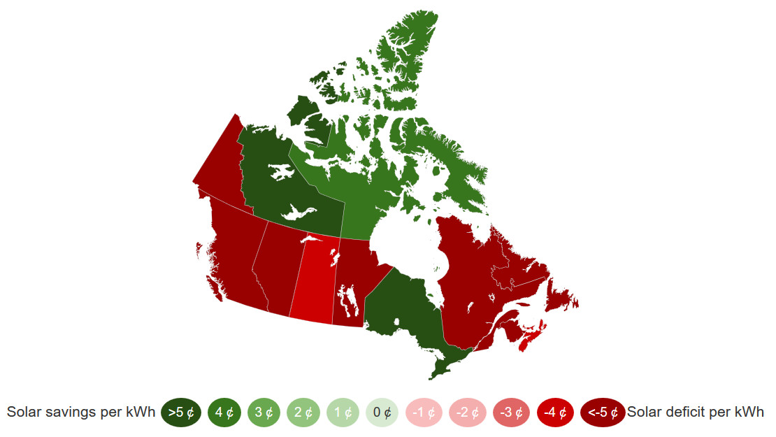 Interactive Grid Parity Map for Solar Energy - Canada