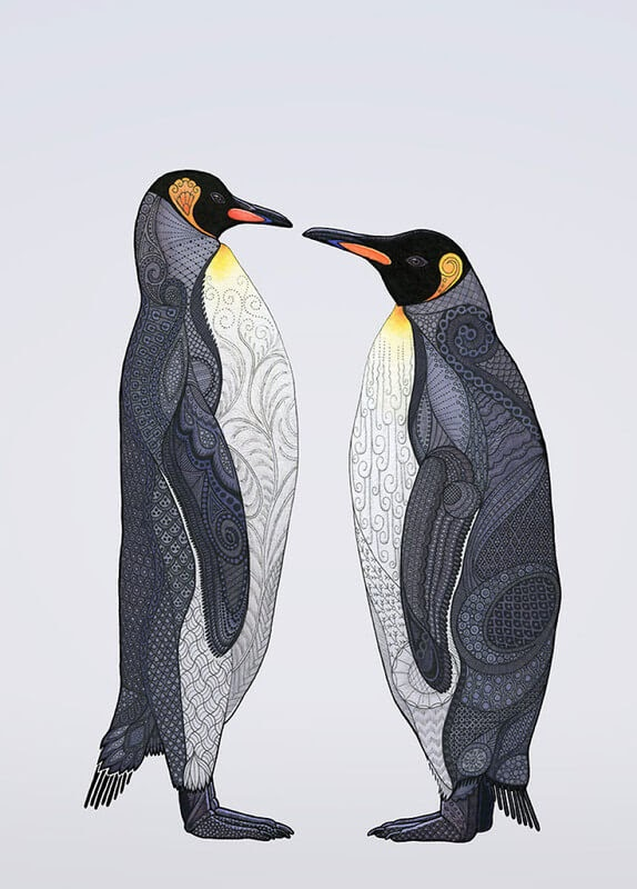 13-King-Penguins-Z-H-Field-Distinctive-Animal-Drawings-and-Paintings-www-designstack-co