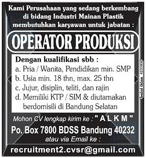 Lowongan Kerja Operator Produksi di Bandung