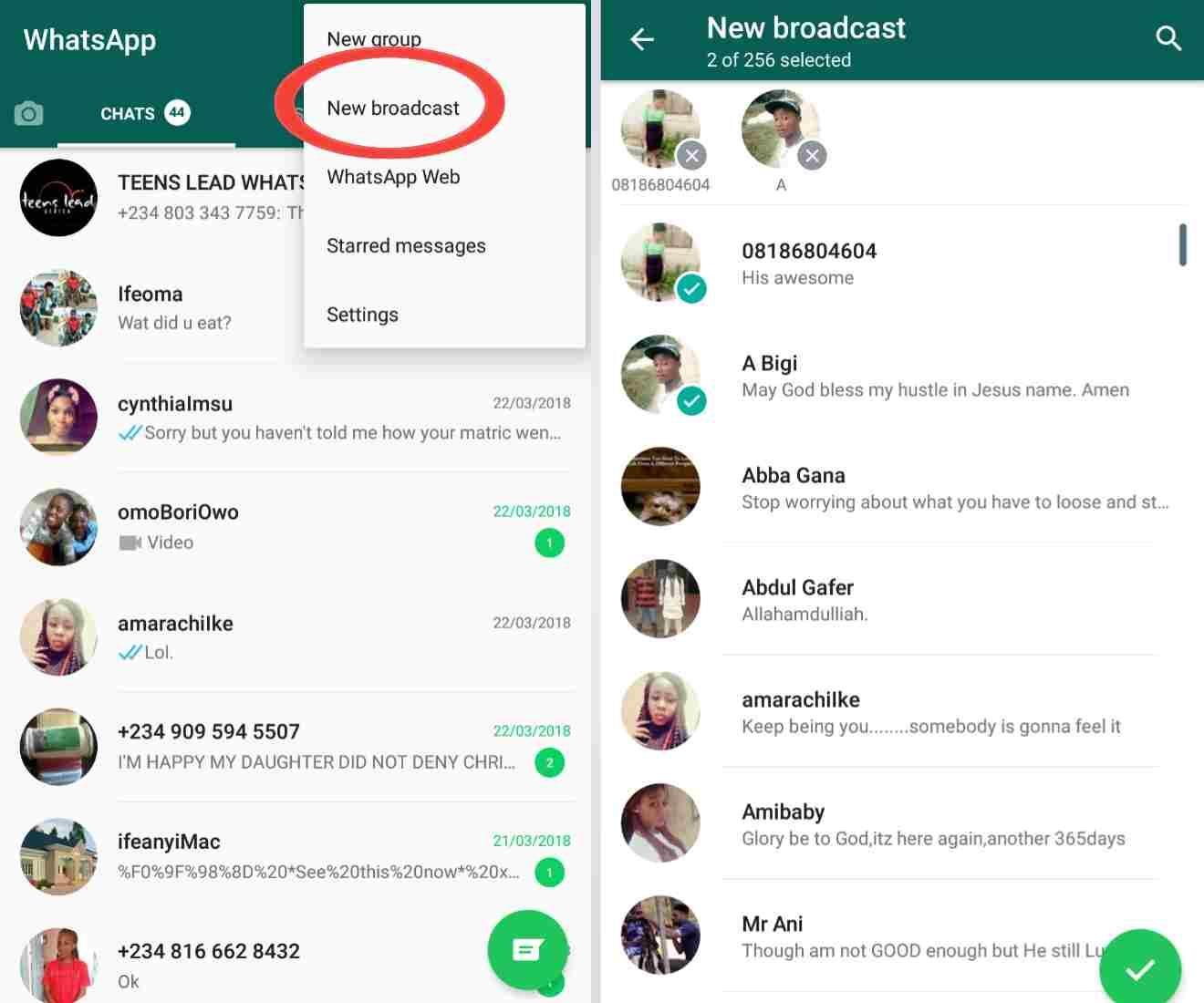 whatsapp tricks 101 - how to send a single message to a large group of people at once using the WhatsApp broadcast feature