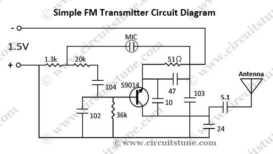 Simple Fm Transmitter Circuit Schematic Circuitstune