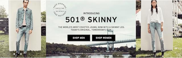 リーバイス 新モデル 501 Skinny 米国公式オンラインストアのバナー