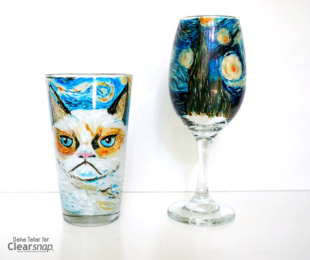 Grumpy Cat Starry Night Glass Graffiti Beer and Wine Glass Set by Dana Tatar