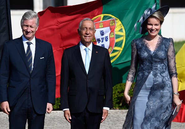 King Philippeand Queen Mathilde are making a state visit to Portugal. State banquet at Palace of Ajuda for Belgian king and queen
