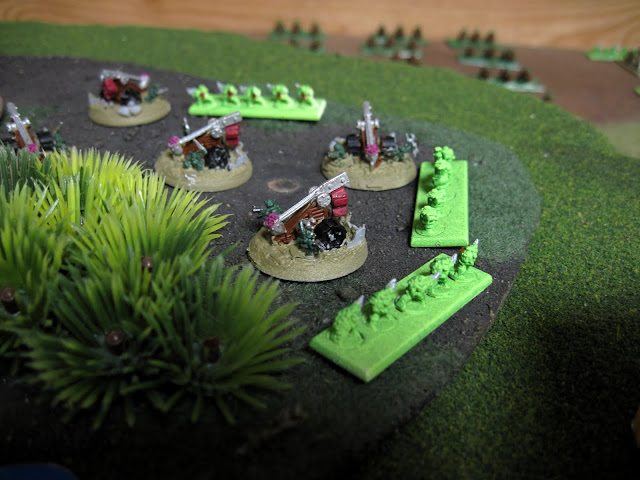 Moscovian's Squig Catapults line the trees.