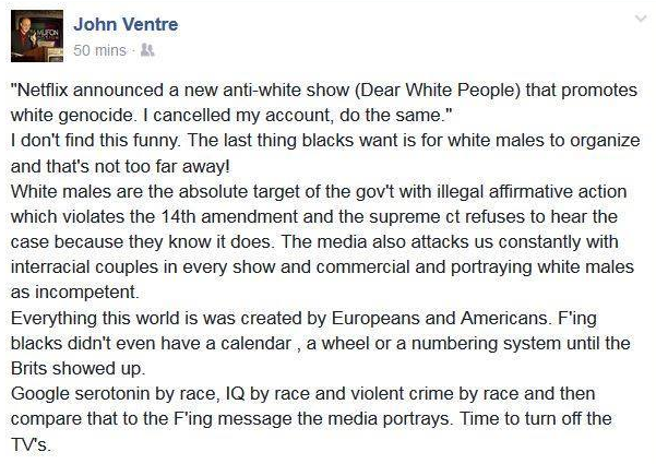 John Ventre is wrong for posting this terrible letter.
