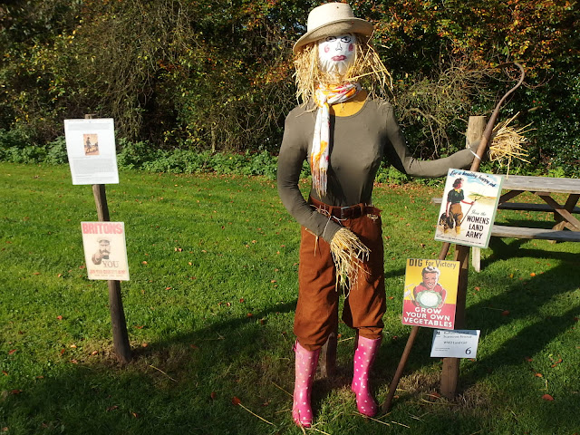 A land army girl scarecrow at Rufford Old Hall