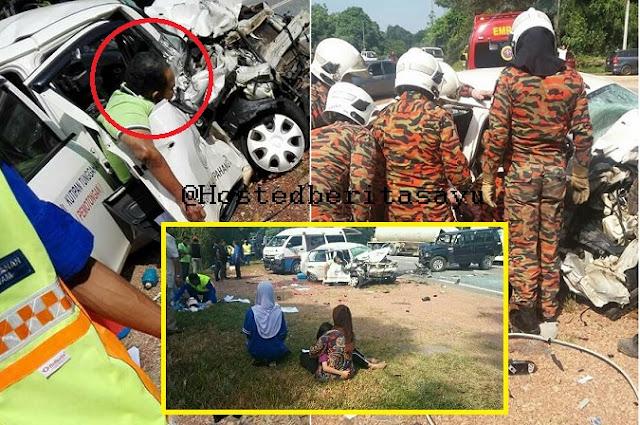 Terkulai Layu Dipintu Kereta .. Dua Staf Air Pahang Maut Kereta Bertembung Pajero (10 Gambar)