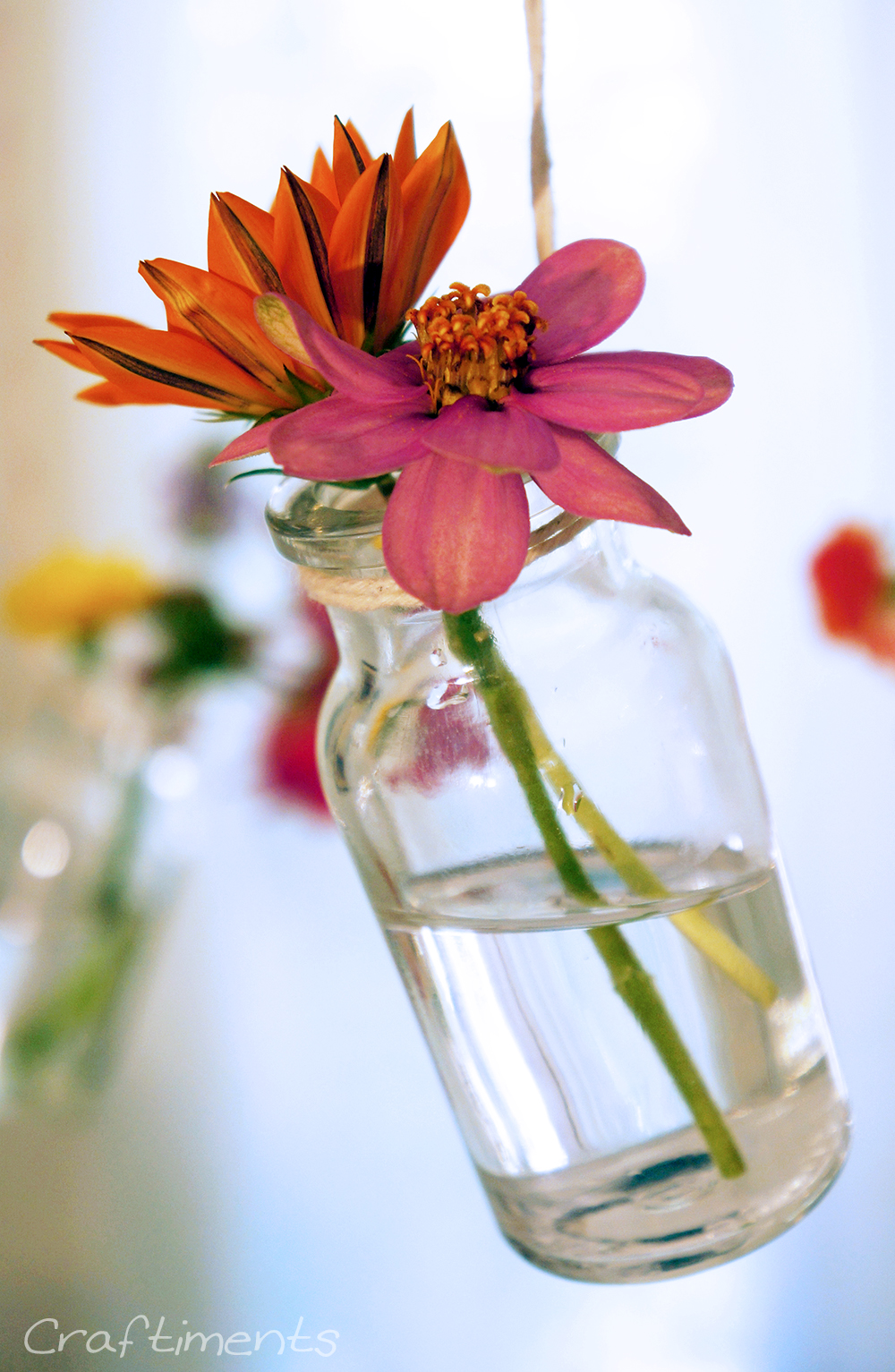 Craftiments: DIY hanging chandelier bud vases