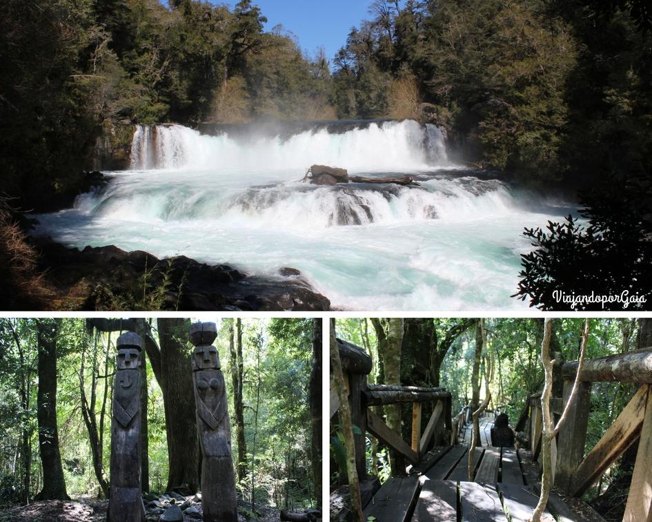 Sedero La Leona y Los Espíritus Mapuches. En las fotos se observa el salto La Leona, escultura de seres mágicos mapuches y parte del sendero, cuya construcción respeta a los árboles.
