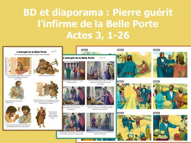 BD et diaporama : Pierre guérit l'infirme de la Belle Porte