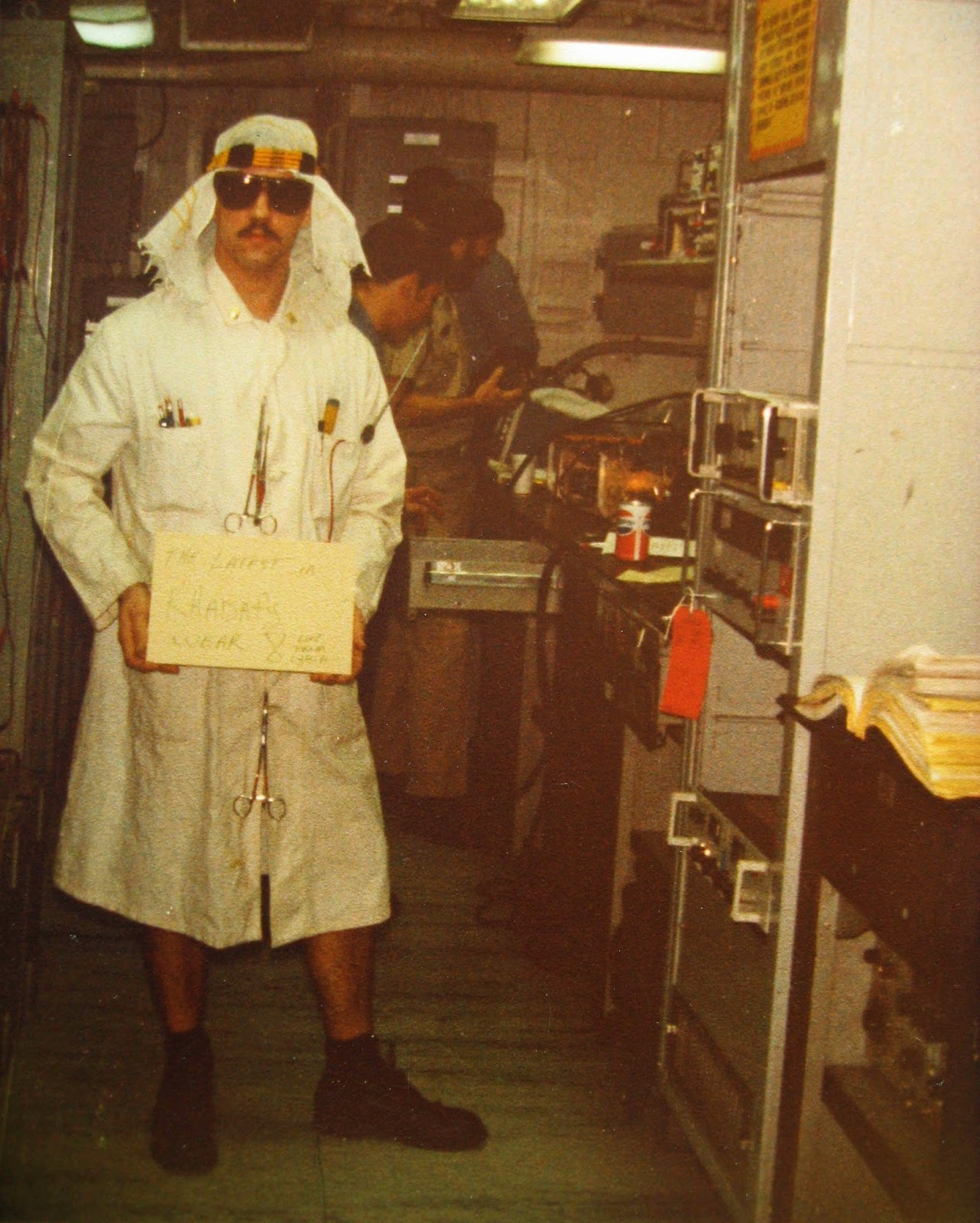 That's Jeff S. displaying the latest in Khadafy Wear on board Nimitz 1983
