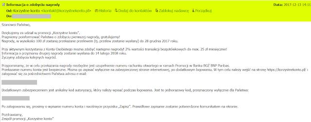 Mail do uczestników promocji Korzystne Konto w BGŻ BNP Paribas