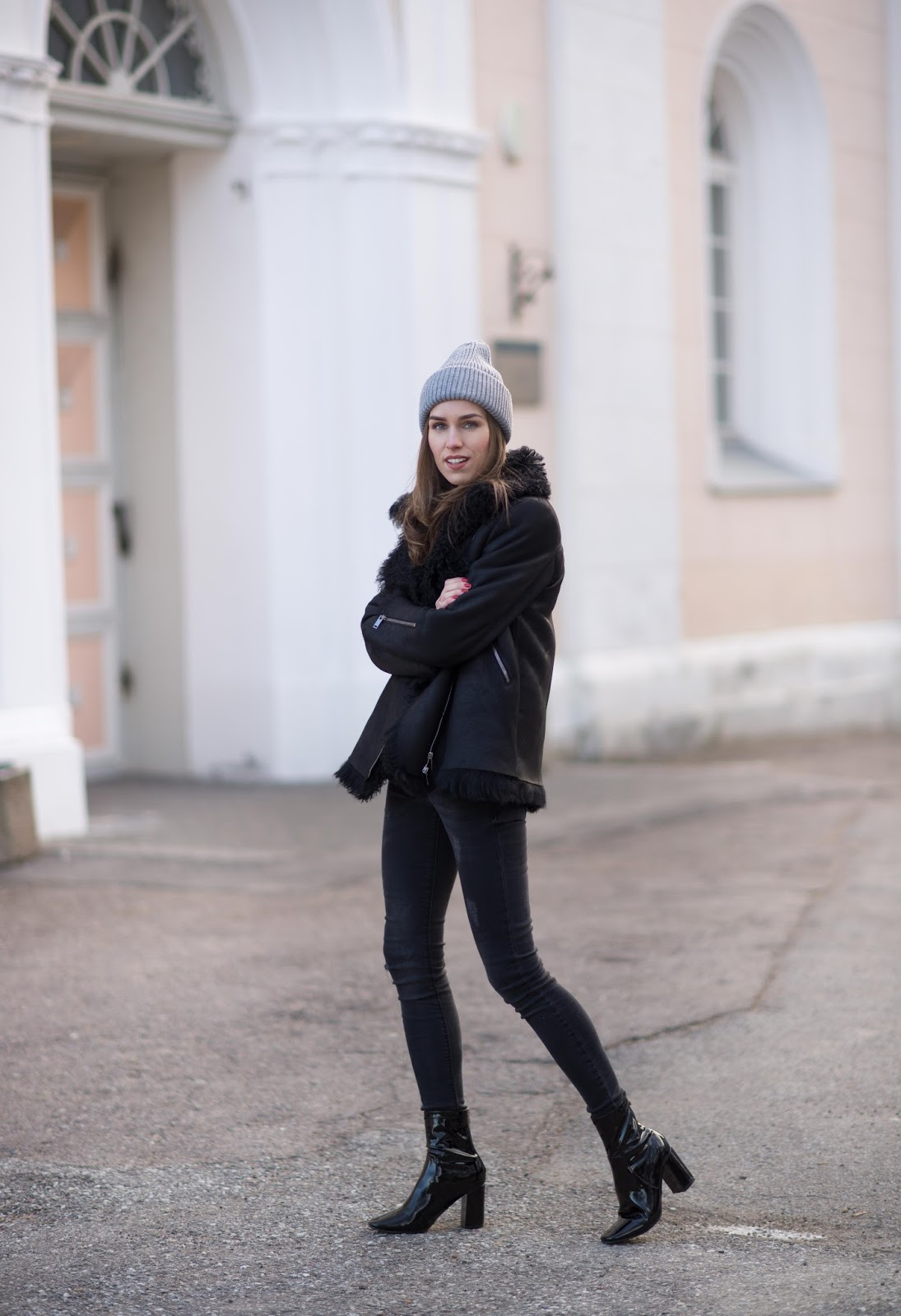 shearling jacket patent sock boots outfit