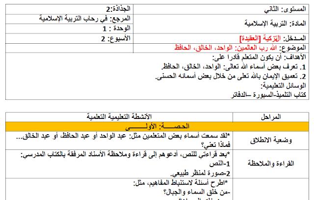 جذاذات في رحاب التربية الإسلامية كاملة للمستوى الثاني ابتدائي