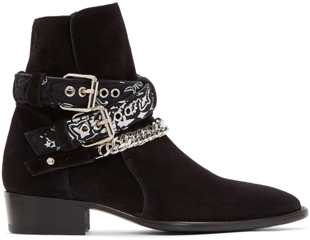 Rock The Spot Amiri Suede Bandana Buckle Boots Shoeography