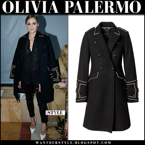 Olivia Palermo in black military coat banana republic, black leather pants and white pumps paris fashion week september 30 2017 front row