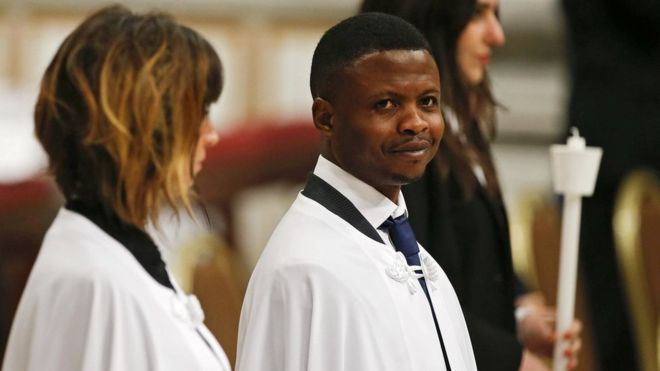 Nigerian 'migrant hero' baptised by Pope after foiling robbery