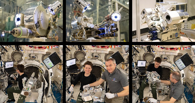 Top: RRM3 tools (left to right) — Visual Inspection Poseable Invertebrate Robot 2, Cryogen Servicing Tool, Multi-Function Tool 2 — during ground testing; Bottom: Astronauts Anne McClain and David Saint-Jacques pose with the corresponding RRM3 tools aboard the International Space Station. Credits: NASA