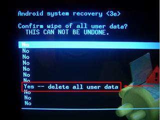 """Tombol """"Volume Up"""" dan arahkan Menu """"Factory reset / wipe data"""""""
