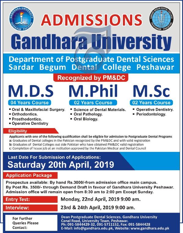Gandhara uni admissions 2019