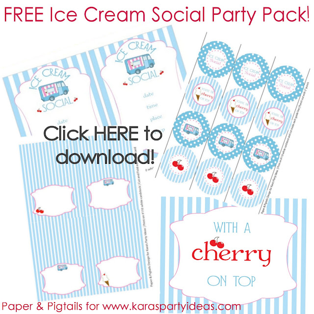 picture about Ice Cream Party Invitations Printable Free identified as Karas Celebration Suggestions No cost Ice Product Occasion Downloads/Printables