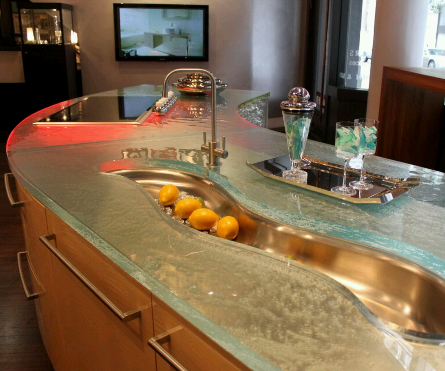 Glass Top Kitchen Countertops