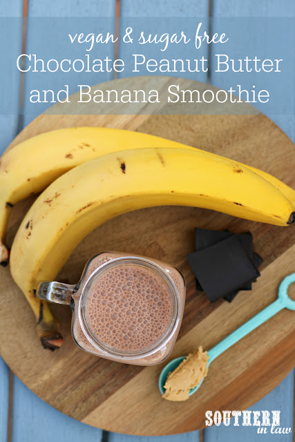 Healthy Chocolate Peanut Butter and Banana Smoothie Recipe - low fat, gluten free, sugar free, vegan, healthy, dairy free, peanut flour, pb2