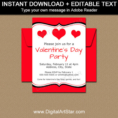 printable valentine's day party invitation - editable Valentine's Day sign