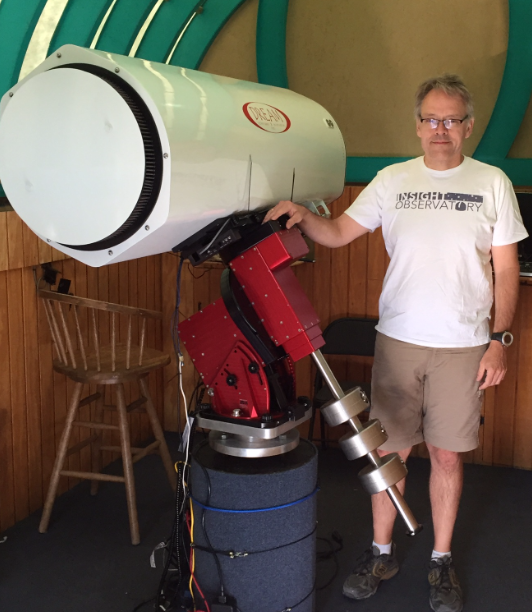 Insight Observatory's Systems Engineer, Muir Evenden, with the  Astronomical Telescope for Educational Outreach (ATEO-1).