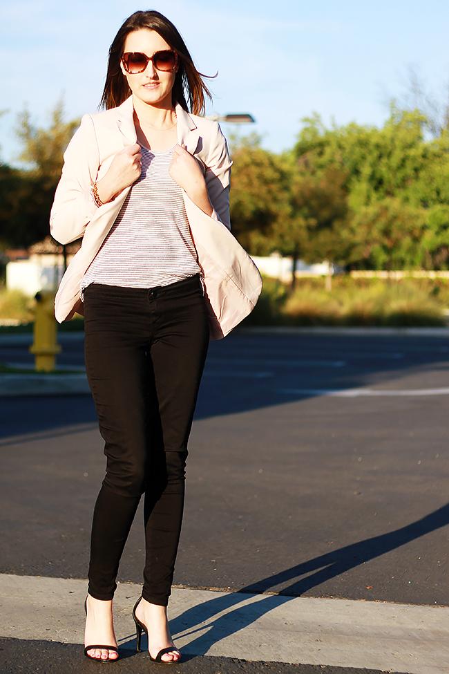 H&M Blush Blazer + Black Pants Outfit