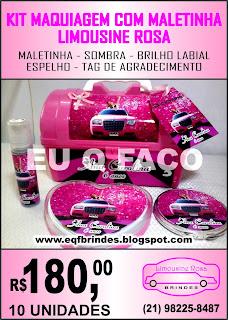 limousine rosa brindes, kit maquiagem limousine rosa, lembrancinha limousine rosa, tema limousine rosa, festa limousine rosa, brinde limousine rosa