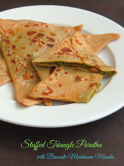 Stuffed Triangle paratha with Broccoli-Mushroom masala