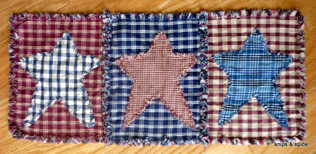Sewing tutorial for making a star, rag quilt table runner