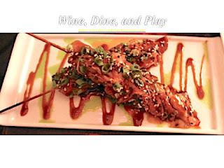 The chicken yakitori appetizer dish at the 5A5 Steakhouse in San Francisco, California