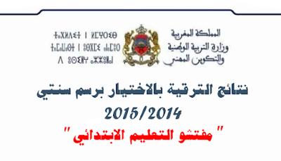 نتائج الترقية بالاختيار لسنة 2014 الخاصة بمفتشي التعليم الابتدائي