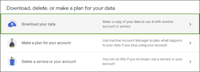 select Download your data