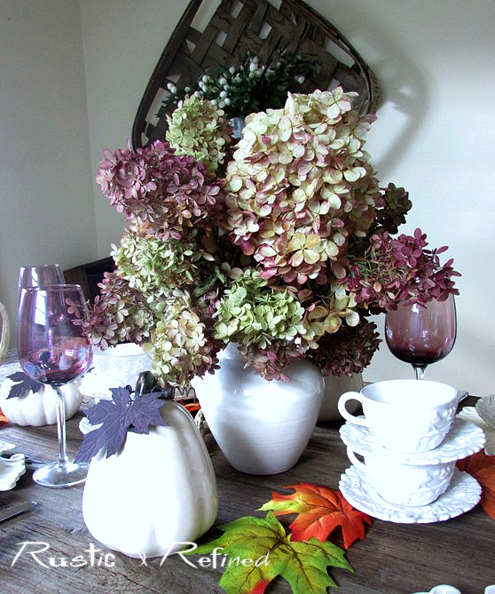 Dried hydrangea fall tablescape rustic refined