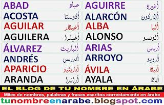 Apellidos en arabe: Alvarez, Andres, Aparicio, Aranda, Arias, Arroyo, Avila, Ayala