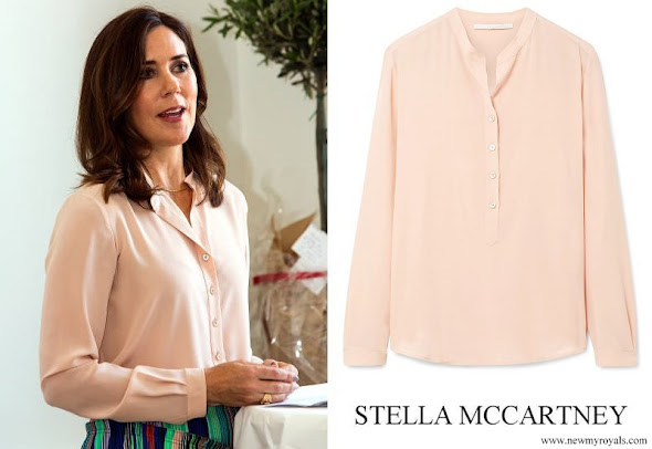 Crown Princess Mary wore STELLA MCCARTNEY Eva silk crepe de chine blouse