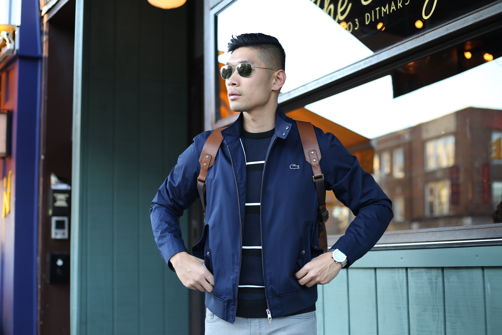 Levitate Style, Menswear Blogger, Lacoste and Leather Coach Backpack