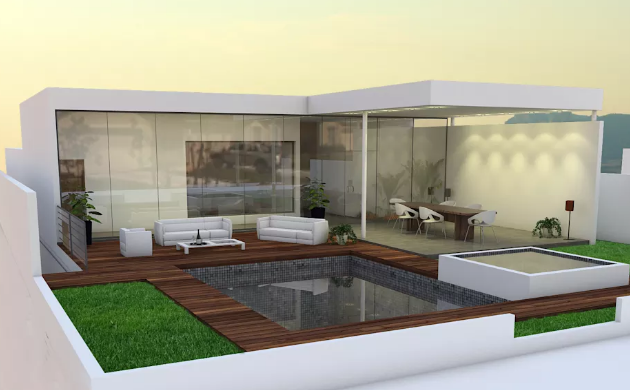 A Garden Pool in the minimalist style homes