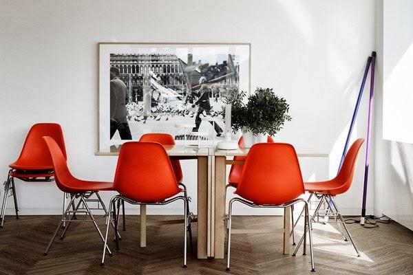 Comedores en color rojo y blanco colores en casa for Sillas de cocina rojas