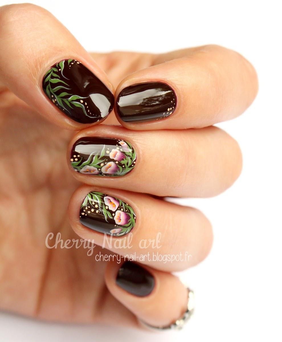 nail art fleurs clochettes au one stroke