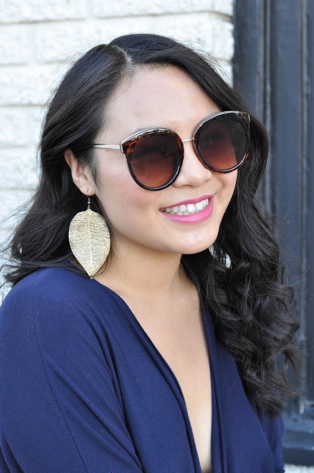 gold leaf earrings asos oversize sunglasses