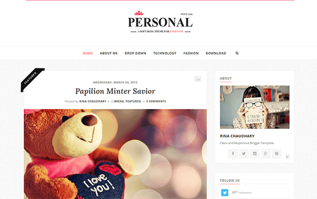 Personal Clean & Responsive Blogger Template
